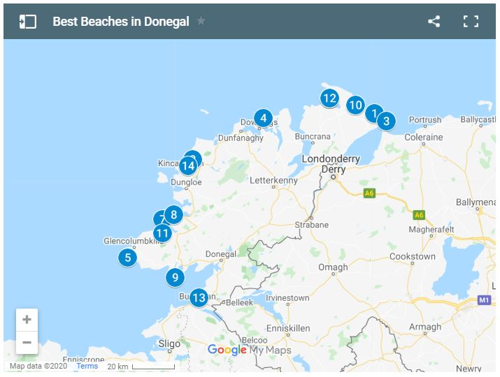 Map of Best Beaches in Donegal